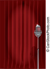 Stand Up Night. - A microphone ready on stage against a red...
