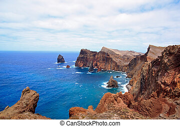 Madeira, east coast, rocks and the Atlantic Ocean