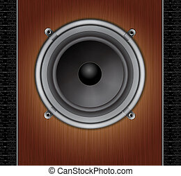 Loud Speaker on a wood background