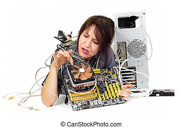 computer motherboard problem - woman looking computer...