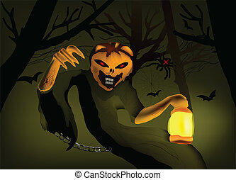 Illustration of a card halloween with monster. Vector