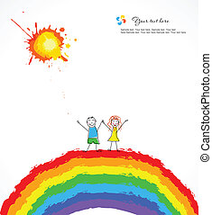 Bright background with happy children on rainbow. Vector