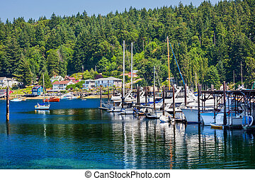 White Sailboats Marina Reflection Gig Harbor Washington...