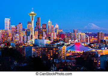 Seattle, Washington State - Seattle downtown at night