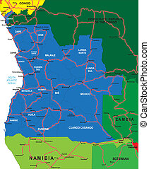 Political map of Angola - Detailed vector map of Angola with...