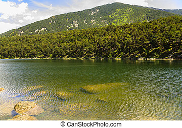 Engolasters Lake, in the Encamp region in Andorra