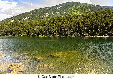 Engolasters Lake, in the Encamp region in Andorra