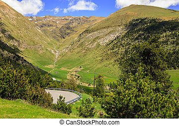 Pyrenees in Andorra - Extensive forested hills and gentle...