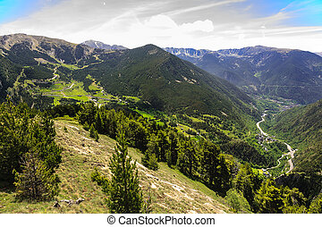 The beauty of the Pyrenees - Green forested mountains,...