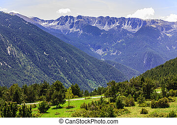 View of the mountains in the Pyrenees - Rocky mountains and...