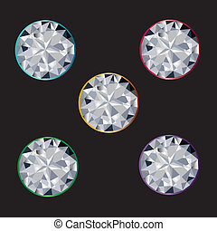 Set of five sapphire diamond stones