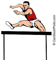 Athlete jumping hurdles - Illustration on olympic sport