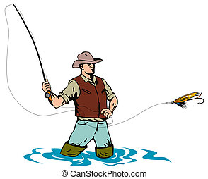 Fly fishing - Illustration on fly fishing