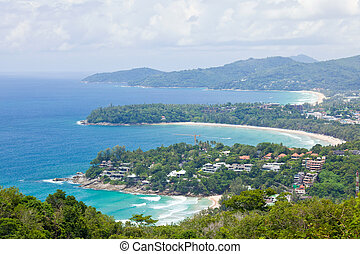 tropical beach aerial - Aerial view landscape of Bay and...