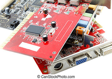 computer parts,video card, soundcard on white background
