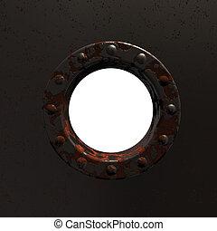 porthole - rusty porthole - 3d illustration