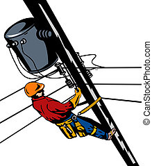 Lineman at work - Illustration of a lineman