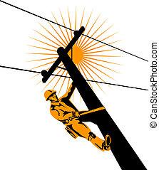 Lineman at work - Illustration on linemen
