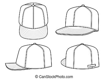 Rap cap - Outline rap cap vector illustration isolated on...