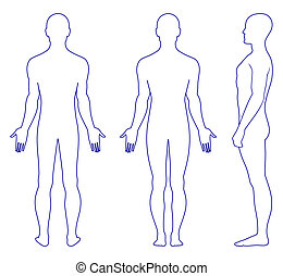 Naked standing man - Full length profile, front, back view...