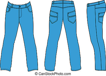 Blue mans jeans front, back, side - Outline pants vector...