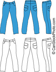 Blue man's jeans - Outline black-white pants vector...