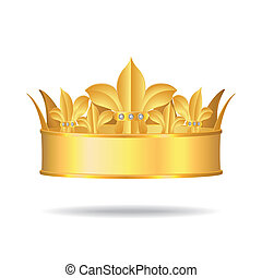 Gold crown with white gems, Vector Illustration