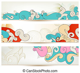 Retro swirls vector banners