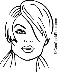 Woman's face (vector illustration) isolated on white...