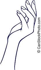 mulher, mão
