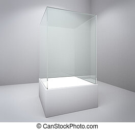 Empty box - Empty glass showcase, 3d exhibition space