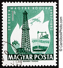 Postage stamp Hungary 1962 Oil Derrick and Primitive Oil...