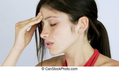 Closeup of woman with headache - Bad pain and flu for...