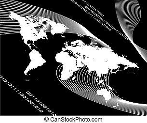 World Map Montage Vector - A black and white world map...