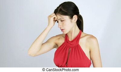female model with strong headache - Beautiful young woman...
