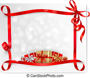 Holiday background with red gift bow with gift boxes  Vector