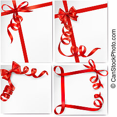 Set of holiday background with red gift bow with red ribbons...