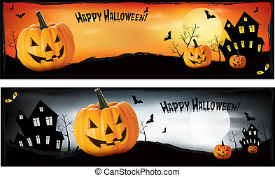 Two Halloween banners  Vector