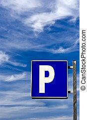 Blue Parking signal under a blue sky