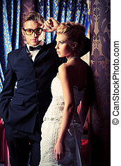 stylish couples - Charming bride and groom on their wedding...
