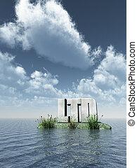 stone ltd at ocean - 3d illustration