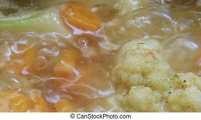 Boiling food, cauliflower, carrots