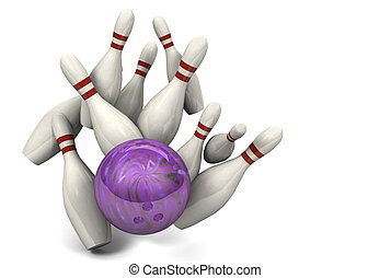 Bowling Ball Hitting Pins for a Strike - Image of a bowling...