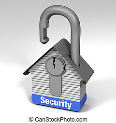 Home Security - 3D illustration demonstrating home security.