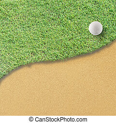Golf ball on green tee