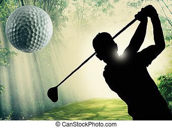 golfer, pôr, bola, verde