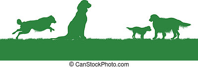 dog background - four dogs on a grass background