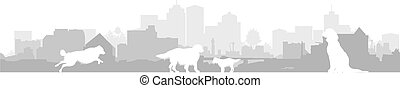 dog silhouettes on a cityscape background