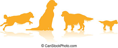dog silhouettes - four dog silhouettes