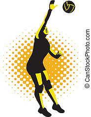 Volleyball Player Spiking Ball Retro - Illustration of a...